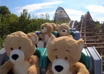 Probaron una montaña rusa con ositos de peluche gigantes y el video se volvió viral